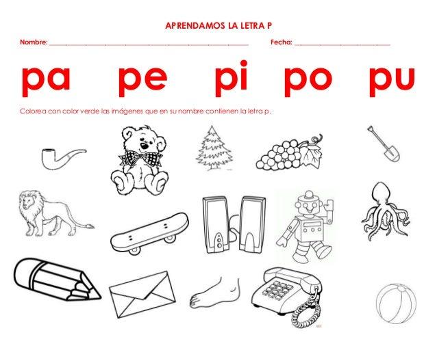 Dibujos Que Empiecen Con La Letra P Para Colorear