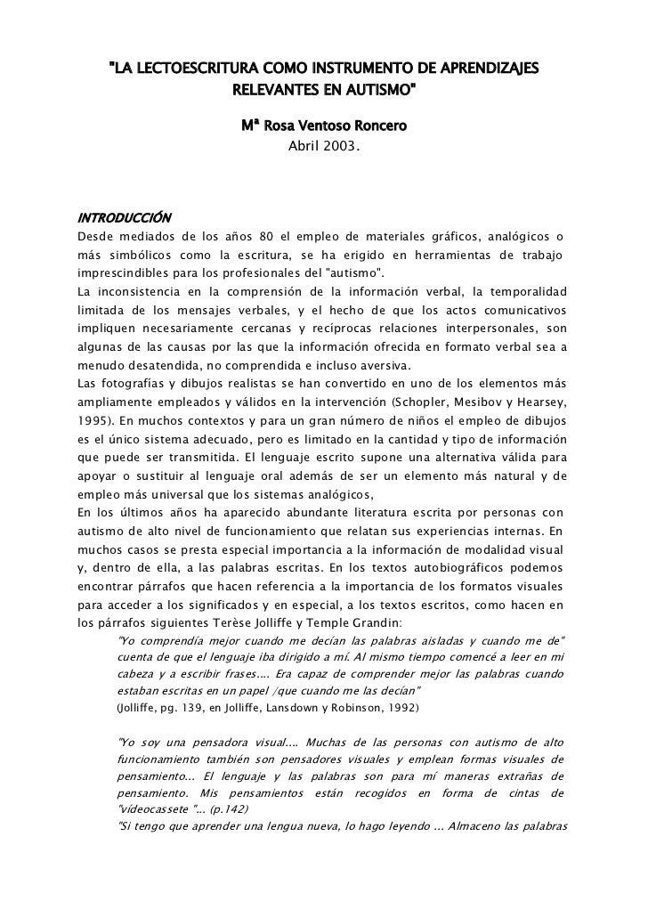 """""""LA LECTOESCRITURA COMO INSTRUMENTO DE APRENDIZAJES                             RELEVANTES EN AUTISMO""""                    ..."""