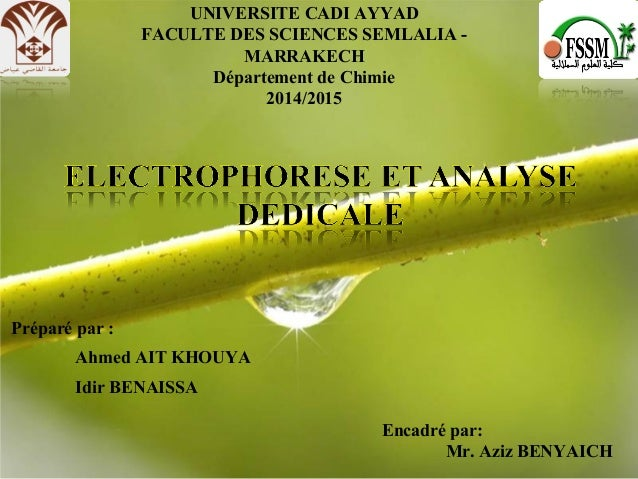 Page 1Free Powerpoint Templates UNIVERSITE CADI AYYAD FACULTE DES SCIENCES SEMLALIA - MARRAKECH Département de Chimie 2014...