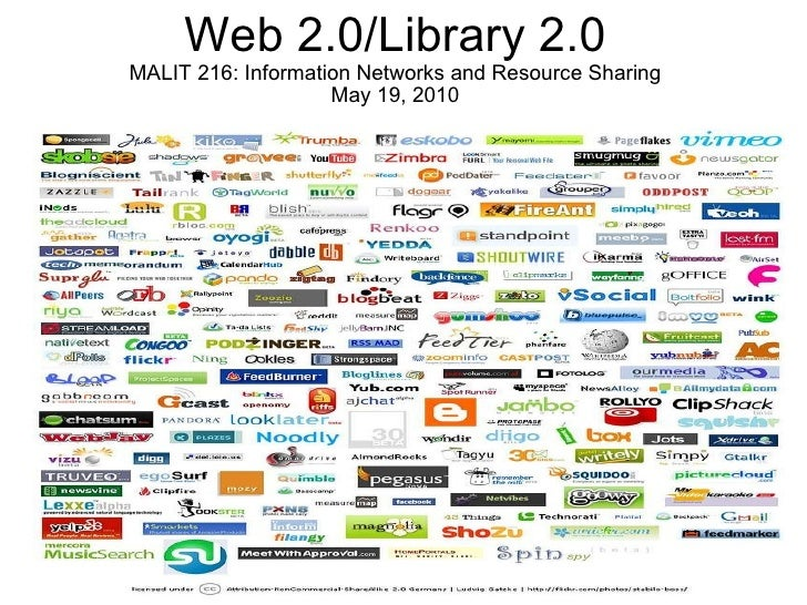 Web 2.0/Library 2.0 MALIT 216: Information Networks and Resource Sharing May 19, 2010 Daniel Lopatin Pratt  SILS  11.30.09