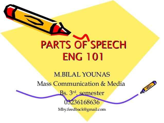 PARTS OF SPEECHPARTS OF SPEECH ENG 101ENG 101 M.BILAL YOUNASM.BILAL YOUNAS Mass Communication & Media Bs. 3rd . semester 0...