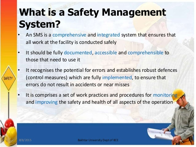 safety management system sms Safety management system (sms) is a comprehensive, collaborative approach that brings management and labor together to build on the transit industry's existing safety foundation to control risk better, detect and correct safety problems earlier, share and analyze safety data more effectively, and measure safety performance more carefully.