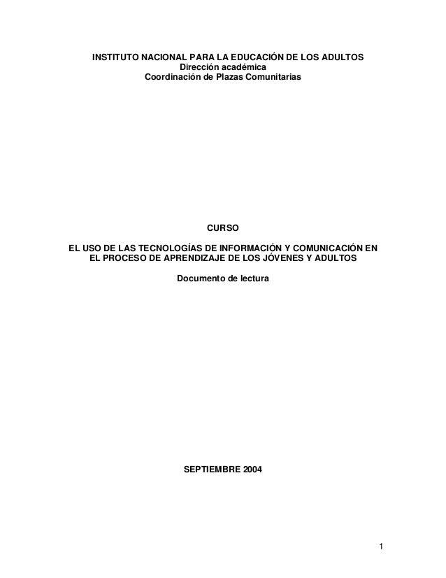 INSTITUTO NACIONAL PARA LA EDUCACIÓN DE LOS ADULTOS                      Dirección académica               Coordinación de...