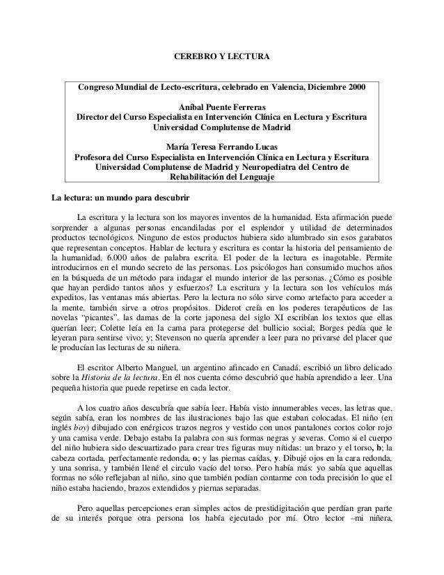 CEREBRO Y LECTURA Congreso Mundial de Lecto-escritura, celebrado en Valencia, Diciembre 2000 Aníbal Puente Ferreras Direct...