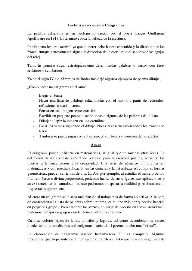 Lectura Caligramas