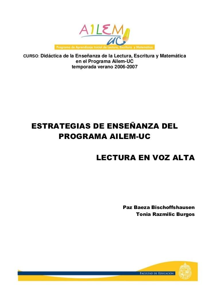 CURSO: Didáctica de la Enseñanza de la Lectura, Escritura y Matemática                       en el Programa Ailem-UC      ...