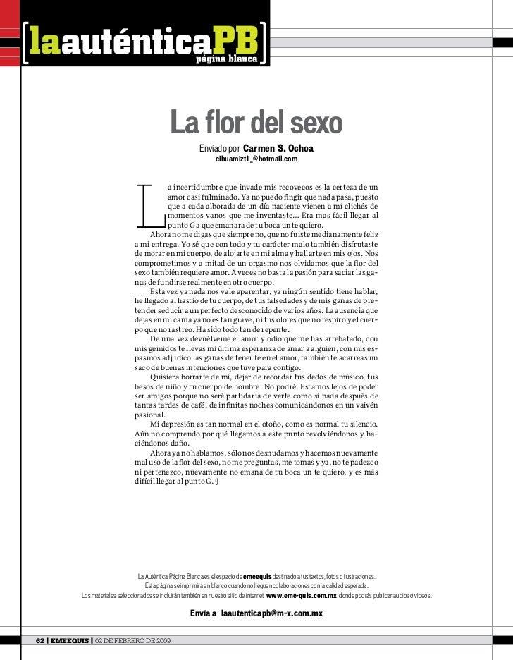 La flor del sexo                                                          Enviado por Carmen S. Ochoa                     ...