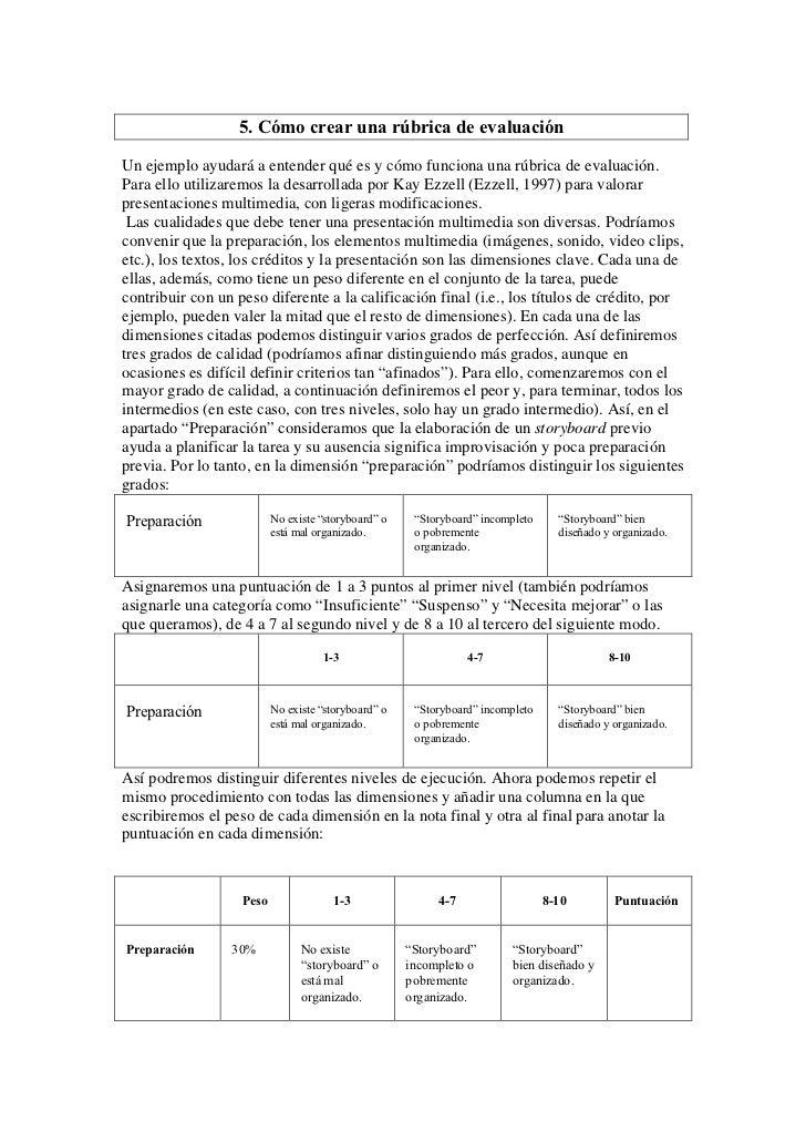 5. Cómo crear una rúbrica de evaluaciónUn ejemplo ayudará a entender qué es y cómo funciona una rúbrica de evaluación.Para...