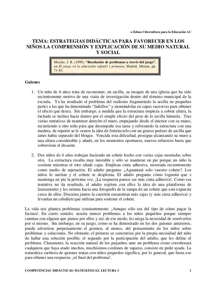 e-Educa Cibercultura para la Educación AC  TEMA: ESTRATEGIAS DIDÁCTICAS PARA FAVORECER EN LOSNIÑOS LA COMPRENSIÓN Y EXPLIC...