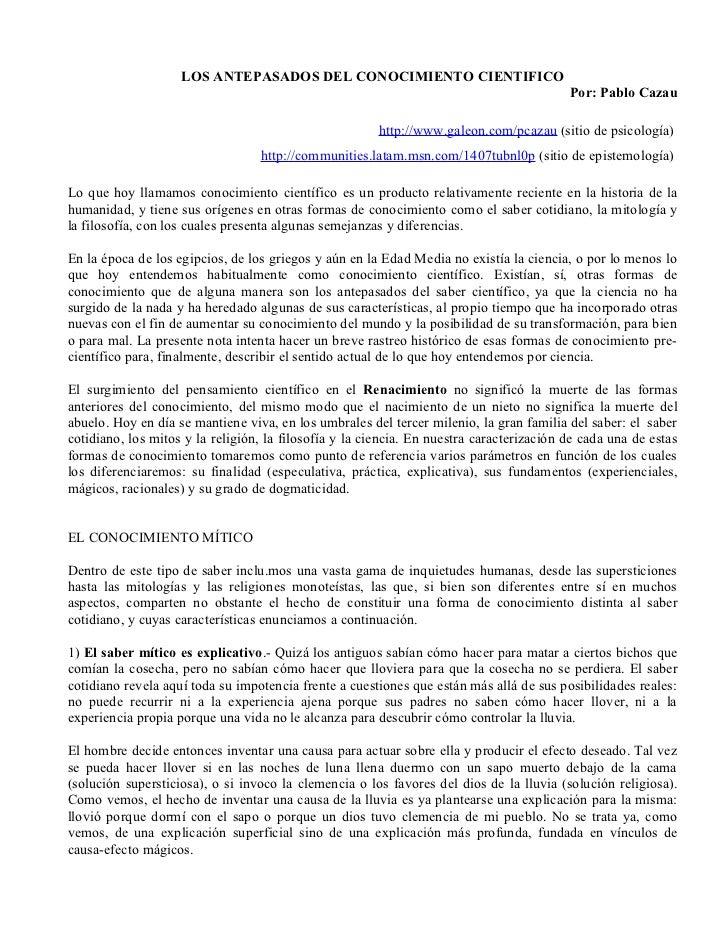 LOS ANTEPASADOS DEL CONOCIMIENTO CIENTIFICO                                                                               ...