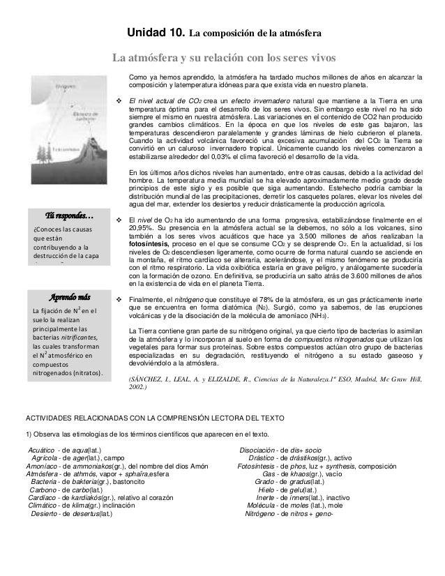 Unidad 10. La composición de la atmósferaLa atmósfera y su relación con los seres vivosComo ya hemos aprendido, la atmósfe...