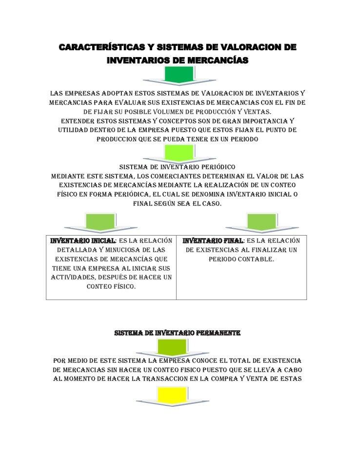 CARACTERÍSTICAS Y SISTEMAS DE VALORACION DE INVENTARIOS DE MERCANCÍAS<br />Las empresas adoptan estos sistemas de valoraci...
