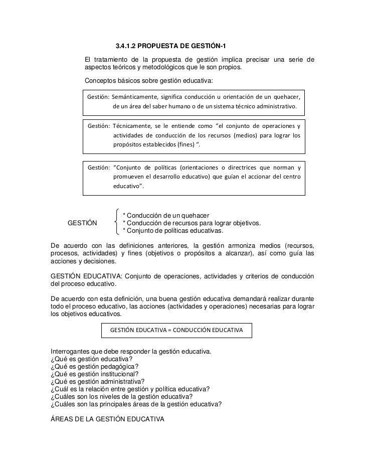 3.4.1.2 PROPUESTA DE GESTIÓN-1           El tratamiento de la propuesta de gestión implica precisar una serie de          ...
