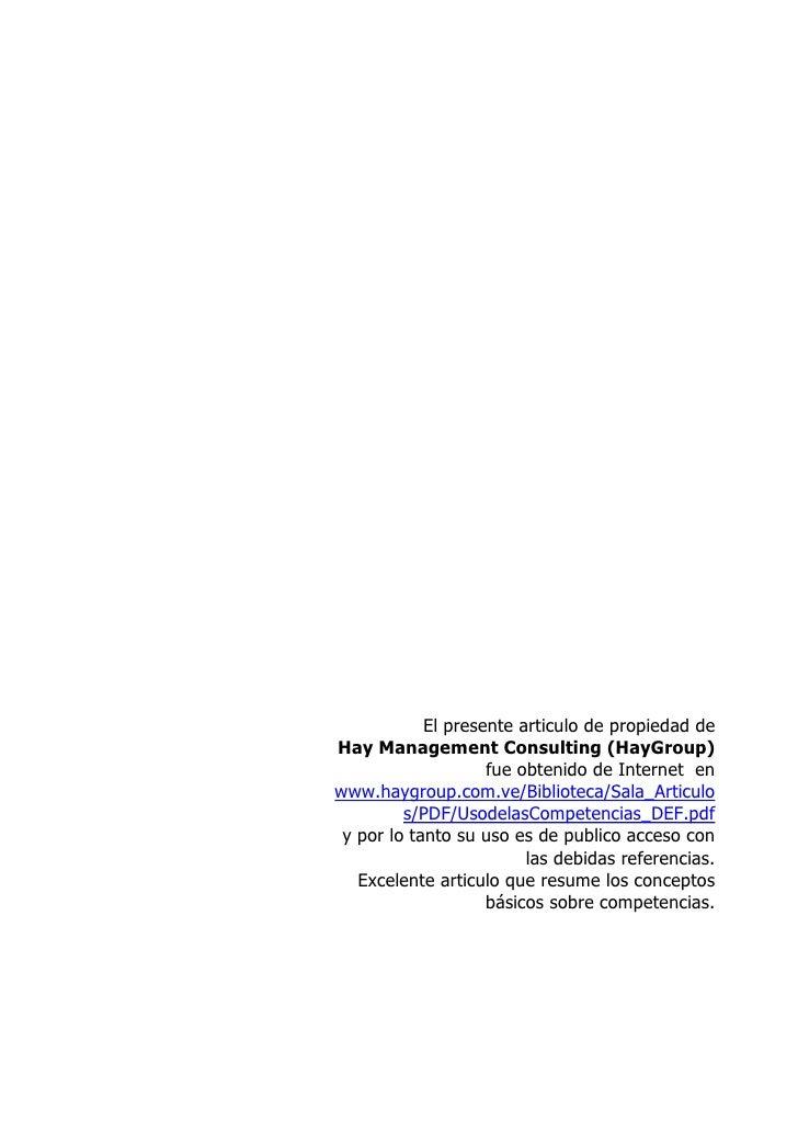 El presente articulo de propiedad deHay Management Consulting (HayGroup)                    fue obtenido de Internet enwww...