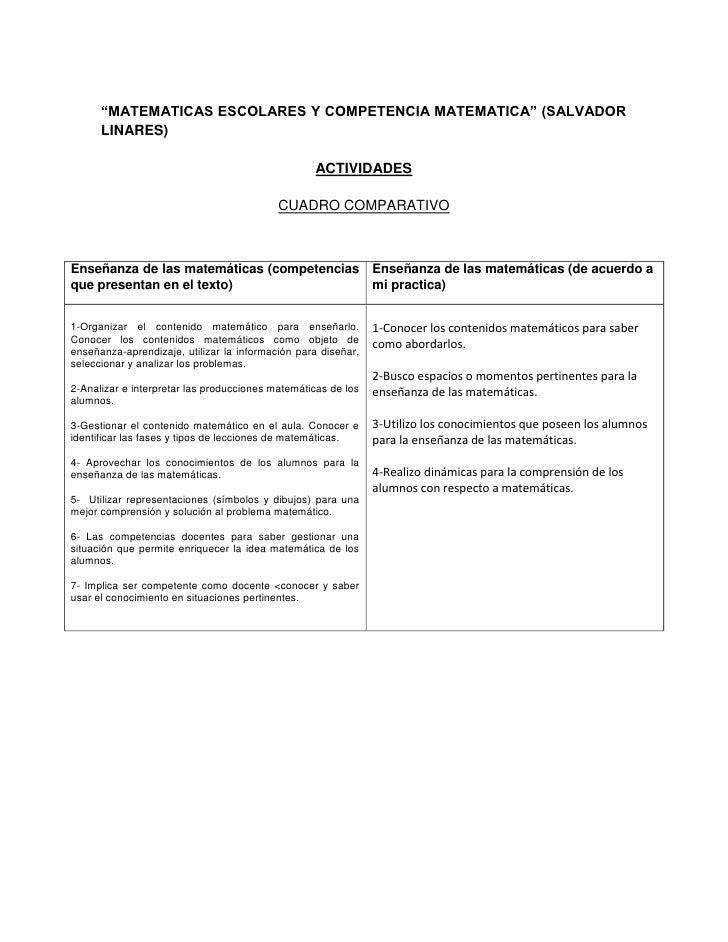 """""""MATEMATICAS ESCOLARES Y COMPETENCIA MATEMATICA"""" (SALVADOR LINARES)<br />ACTIVIDADES<br />CUADRO COMPARATIVO<br />Enseñanz..."""