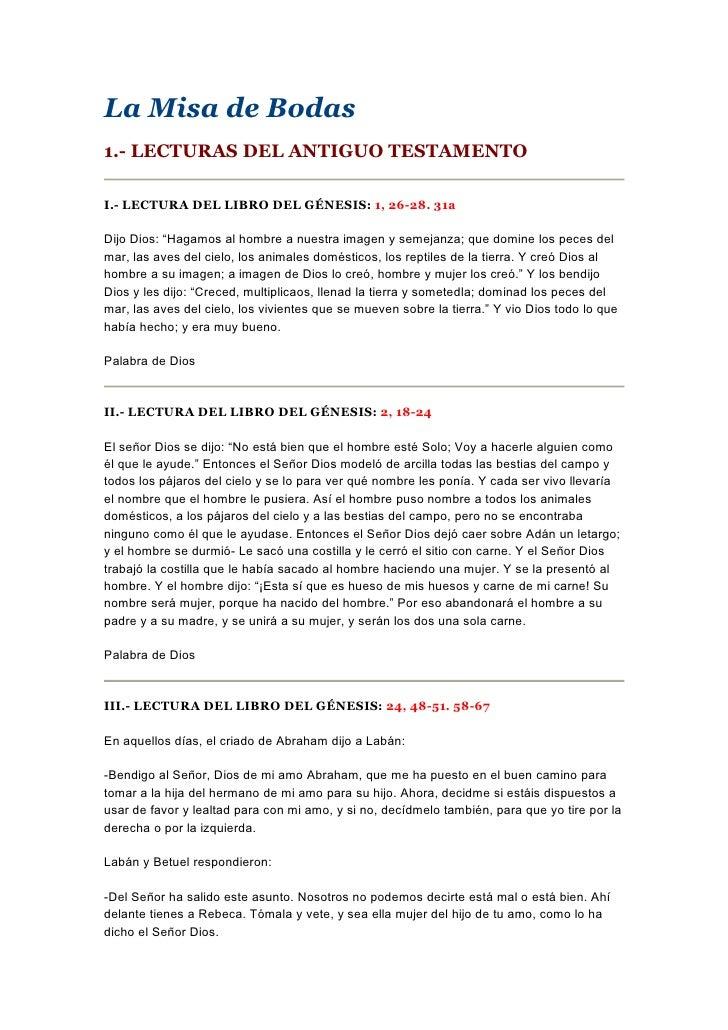 Misa Matrimonio Catolico Lecturas : Lecturas para la ceremonia de boda