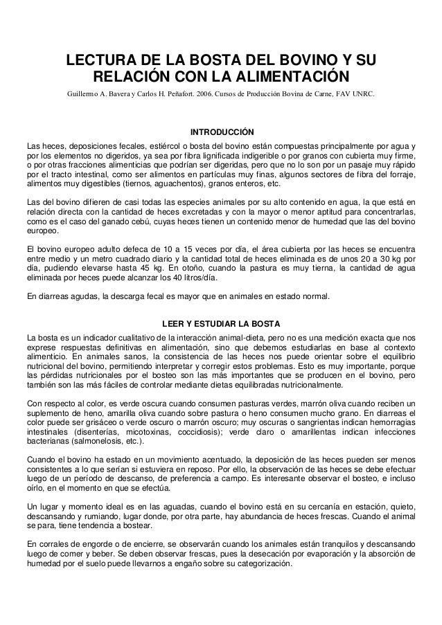 LECTURA DE LA BOSTA DEL BOVINO Y SU RELACIÓN CON LA ALIMENTACIÓN Guillermo A. Bavera y Carlos H. Peñafort. 2006. Cursos de...