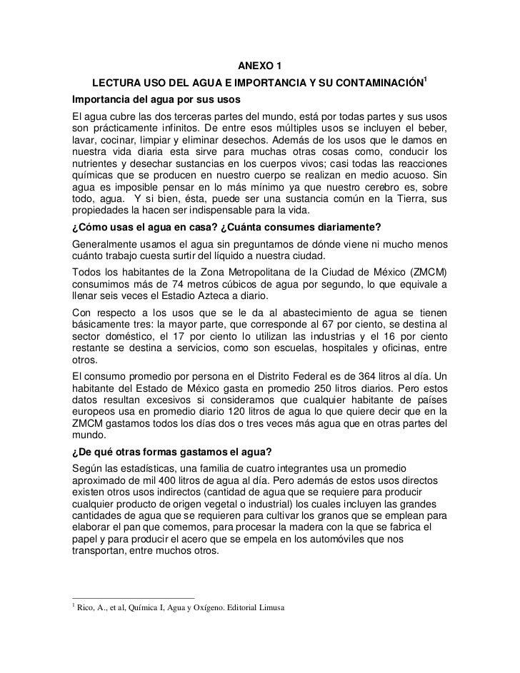ANEXO 1        LECTURA USO DEL AGUA E IMPORTANCIA Y SU CONTAMINACIÓN1Importancia del agua por sus usosEl agua cubre las do...