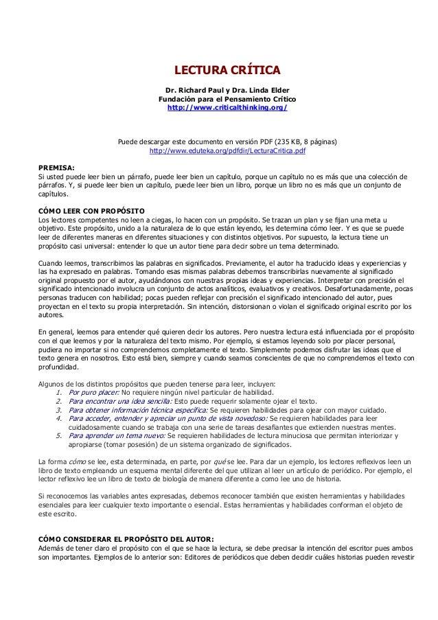 LECTURA CRÍTICADr. Richard Paul y Dra. Linda ElderFundación para el Pensamiento Críticohttp://www.criticalthinking.org/Pue...
