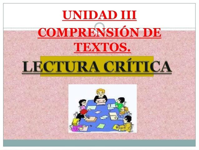 UNIDAD IIICOMPRENSIÓN DETEXTOS.