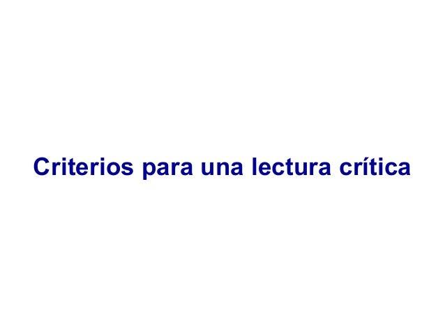 Criterios para una lectura crítica