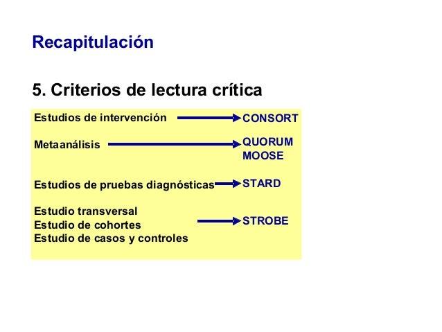 Recapitulación 5. Criterios de lectura crítica Estudios de intervención Metaanálisis Estudios de pruebas diagnósticas Estu...