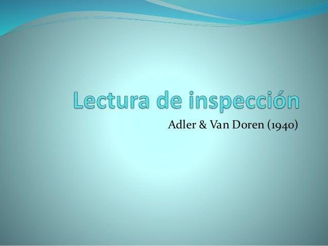 Adler & Van Doren (1940)