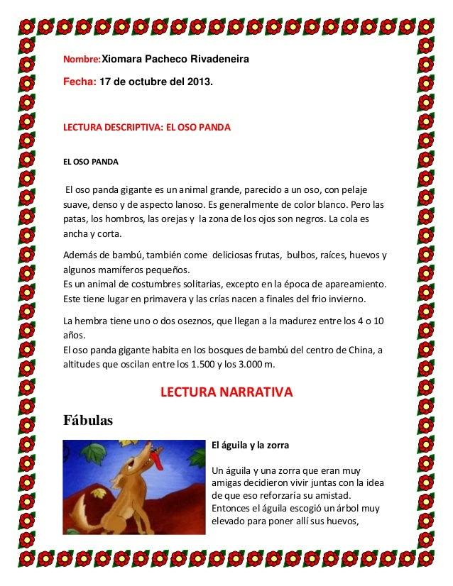 Nombre:Xiomara Pacheco Rivadeneira Fecha: 17 de octubre del 2013.  LECTURA DESCRIPTIVA: EL OSO PANDA EL OSO PANDA  El oso ...