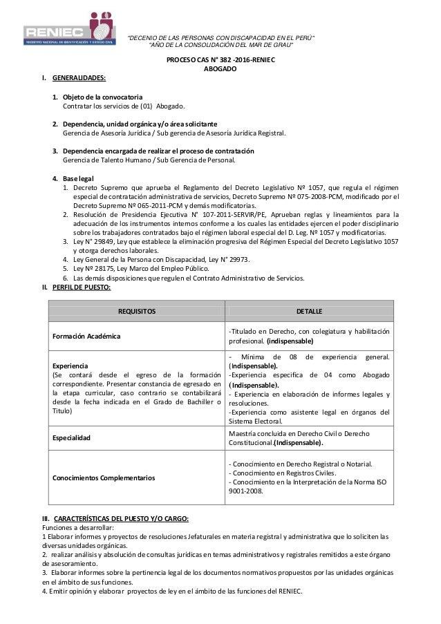 """""""DECENIO DE LAS PERSONAS CON DISCAPACIDAD EN EL PERÚ"""" """"AÑO DE LA CONSOLIDACIÓN DEL MAR DE GRAU"""" PROCESO CAS N° 382 -2016-R..."""