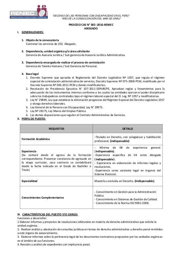"""""""DECENIO DE LAS PERSONAS CON DISCAPACIDAD EN EL PERÚ"""" """"AÑO DE LA CONSOLIDACIÓN DEL MAR DE GRAU"""" PROCESO CAS N° 383 -2016-R..."""
