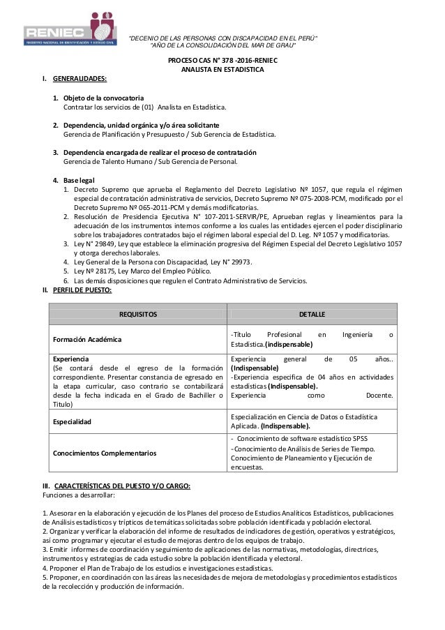 """""""DECENIO DE LAS PERSONAS CON DISCAPACIDAD EN EL PERÚ"""" """"AÑO DE LA CONSOLIDACIÓN DEL MAR DE GRAU"""" PROCESO CAS N° 378 -2016-R..."""
