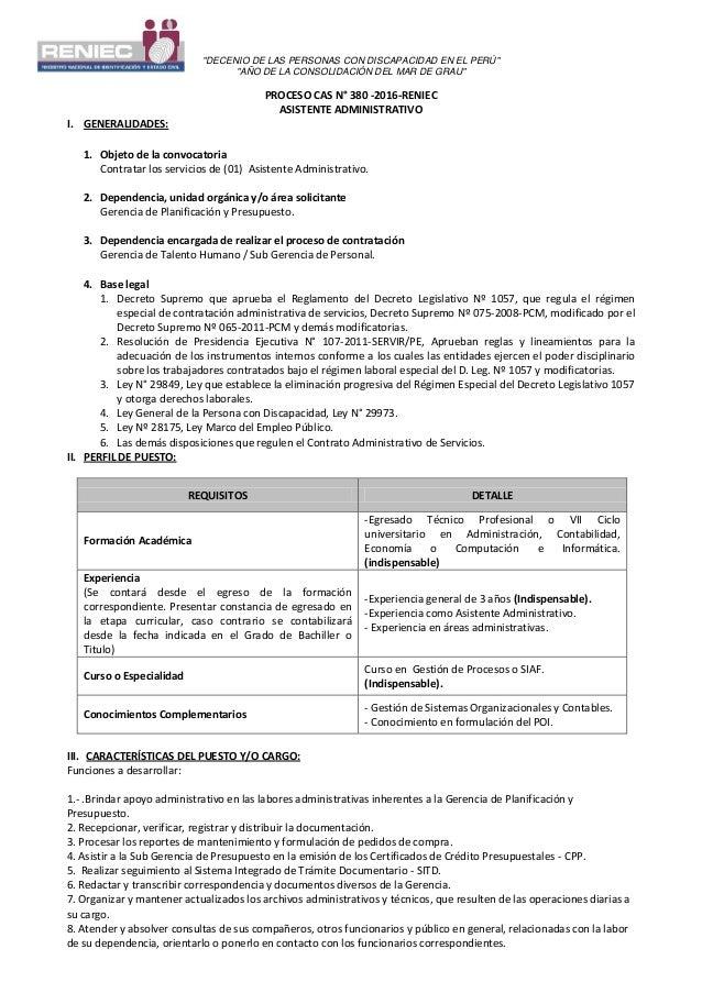 """""""DECENIO DE LAS PERSONAS CON DISCAPACIDAD EN EL PERÚ"""" """"AÑO DE LA CONSOLIDACIÓN DEL MAR DE GRAU"""" PROCESO CAS N° 380 -2016-R..."""
