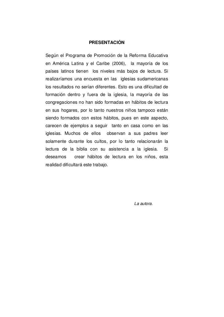 PRESENTACIÓNSegún el Programa de Promoción de la Reforma Educativaen América Latina y el Caribe (2006),      la mayoría de...