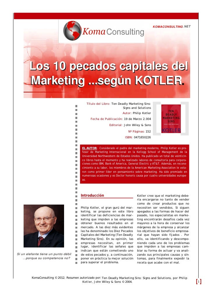 KOMACONSULTING .NET        Los 10 pecados capitales del                           KOTLER        Marketing ...según KOTLER....