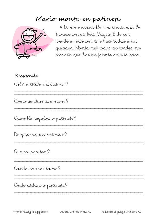 http://fichasalypt.blogspot.com Autora: Cristina Miras AL Traducción al gallego: Ana Soto AL Mario monta en patinete A Mar...