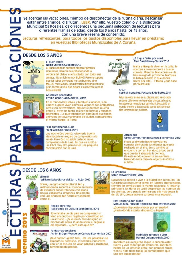 """Guía de lectura """"Lecturas para vacaciones"""""""