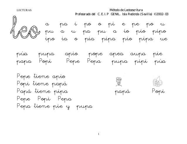 LECTURAS Mé todo de Lectoescritura Profesorado del C.E.I.P GENIL. Isla Redonda (Sevilla) ©2002-03 1 a pa i po o pi e pe po...