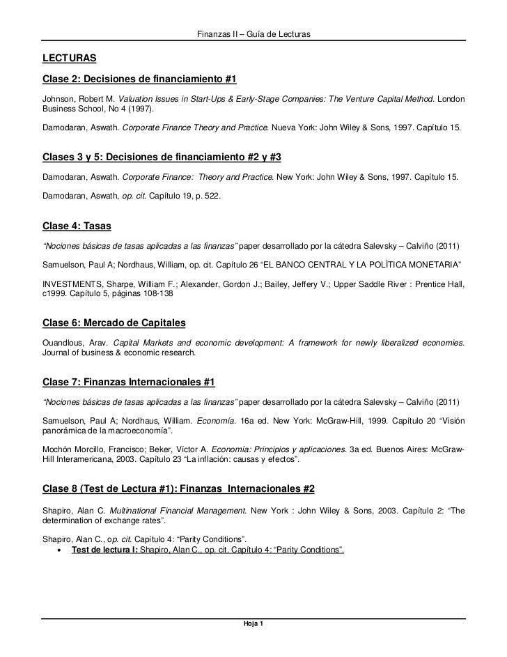 Finanzas II – Guía de LecturasLECTURASClase 2: Decisiones de financiamiento #1Johnson, Robert M. Valuation Issues in Start...