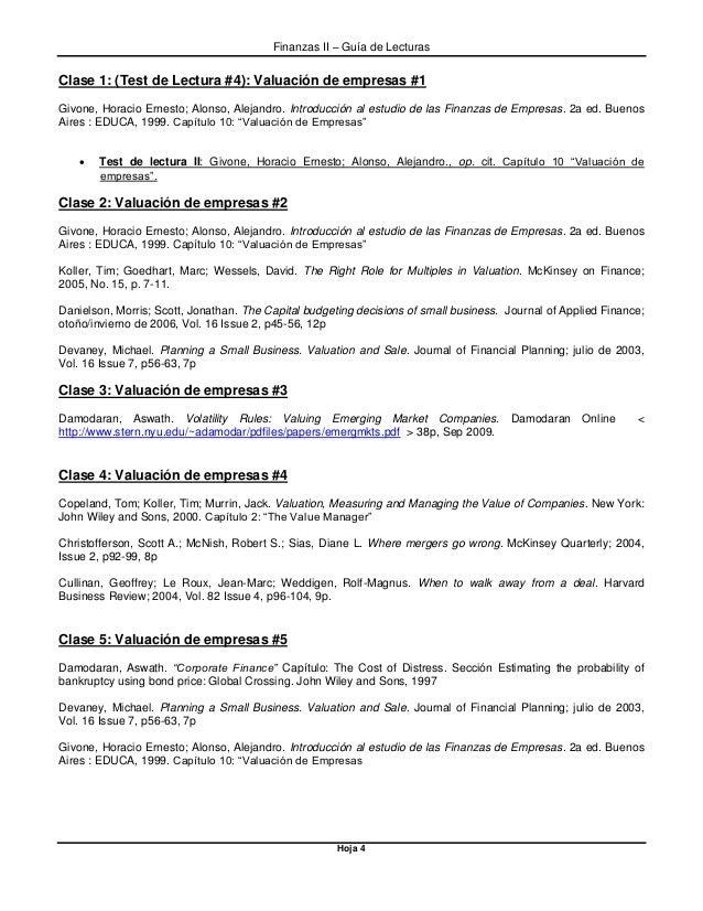 Finanzas II – Guía de Lecturas Hoja 4 Clase 1: (Test de Lectura #4): Valuación de empresas #1 Givone, Horacio Ernesto; Alo...