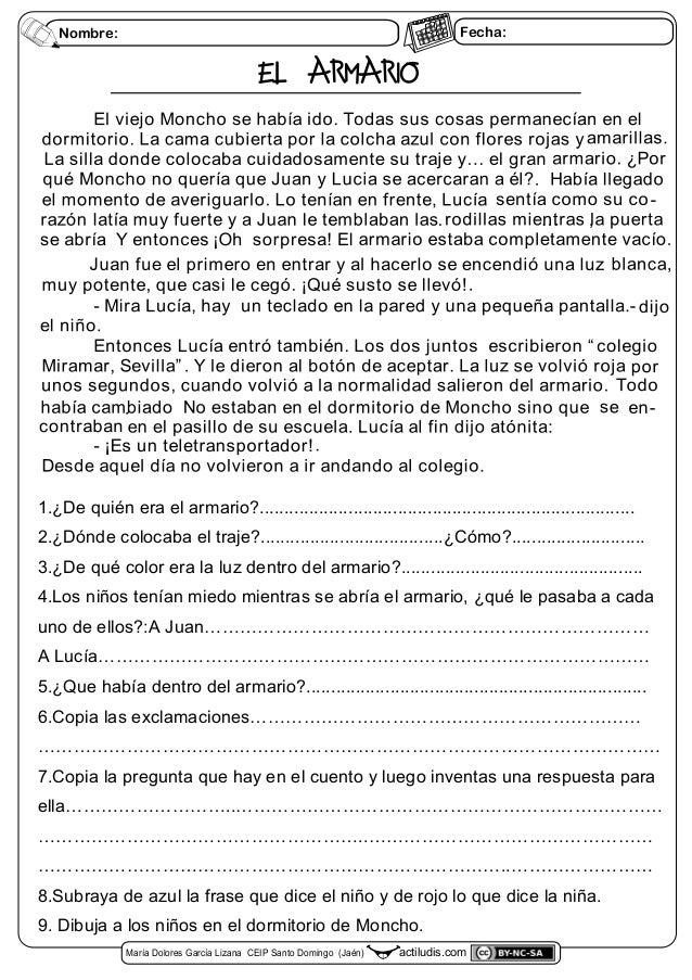 Fecha:Nombre: EL ARMARIO actiludis.comMaría Dolores García Lizana CEIP Santo Domingo (Jaén) 1.¿De quién era el armario?......