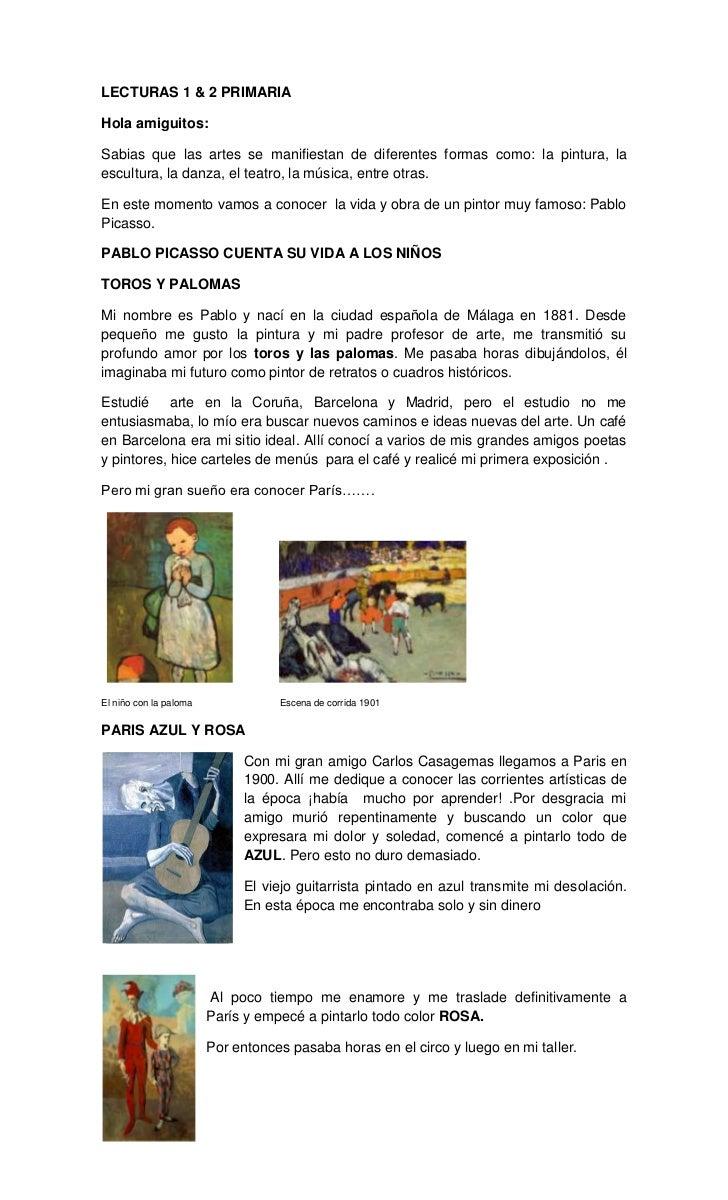LECTURAS 1 & 2 PRIMARIA<br />Hola amiguitos:<br />Sabias que las artes se manifiestan de diferentes formas como: la pintur...