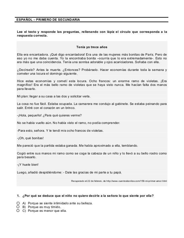 Lecturas Con Preguntas Y Respuestas 1º Secundaria 1