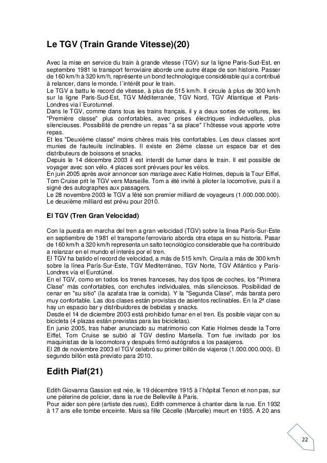 22 Le TGV (Train Grande Vitesse)(20) Avec la mise en service du train à grande vitesse (TGV) sur la ligne Paris-Sud-Est, e...