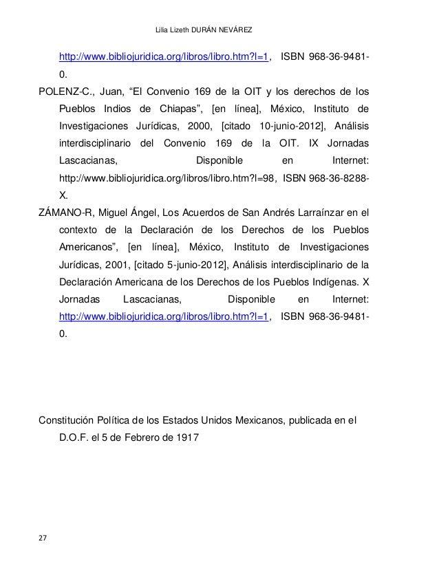EL DERECHO INDÍGENA EN MÉXICO A PARTIR DE LA INDEPENDENCIA 28