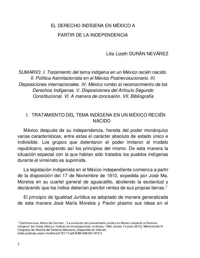 EL DERECHO INDÍGENA EN MÉXICO A PARTIR DE LA INDEPENDENCIA 8 documento denominado Sentimientos de la Nación, el 14 de sept...