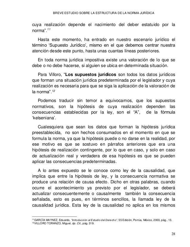 """BREVE ESTUDIO SOBRE LA ESTRUCTURA DE LA NORMA JURÍDICA 30 autor que define el hecho jurídico como """"Toda conducta humana, o..."""