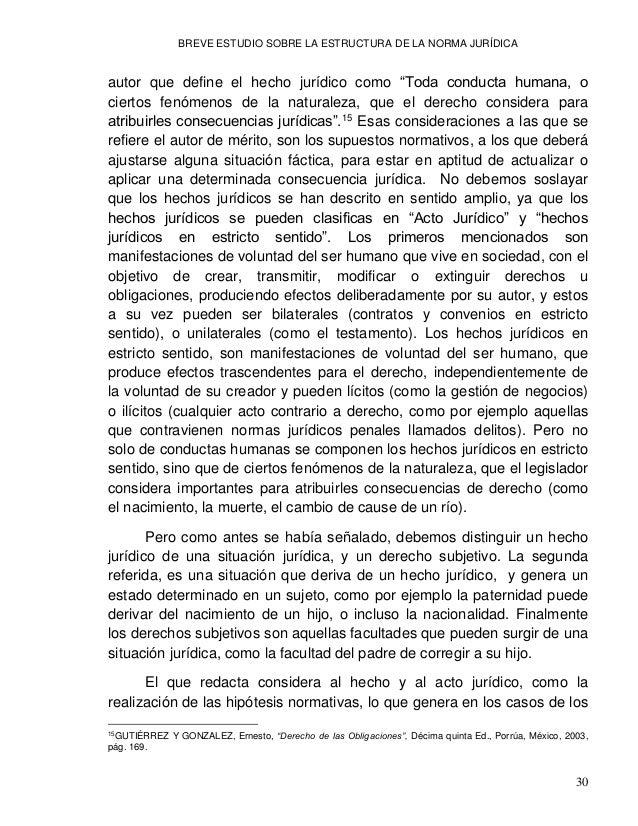 BREVE ESTUDIO SOBRE LA ESTRUCTURA DE LA NORMA JURÍDICA 32 en una norma de carácter no penal. Un claro ejemplo de ello se d...