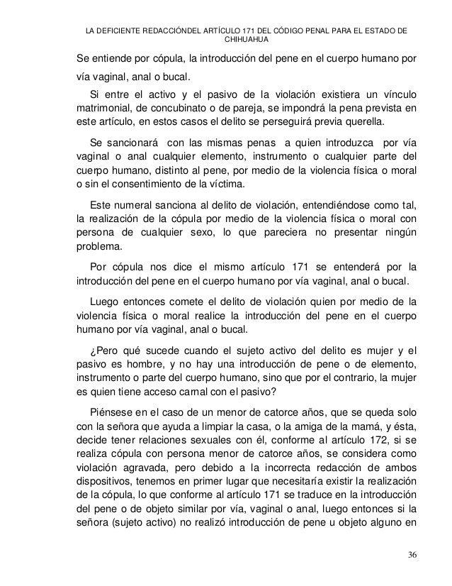 LA DEFICIENTE REDACCIÓNDEL ARTÍCULO 171 DEL CÓDIGO PENAL PARA EL ESTADO DE CHIHUAHUA 38 tradicional de la expresión en la ...