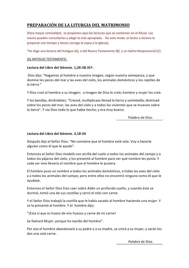 PREPARACIÓN DE LA LITURGIA DEL MATRIMONIO.(Para mayor comodidad, se proponen aquí las lecturas que se contienen en el Ritu...