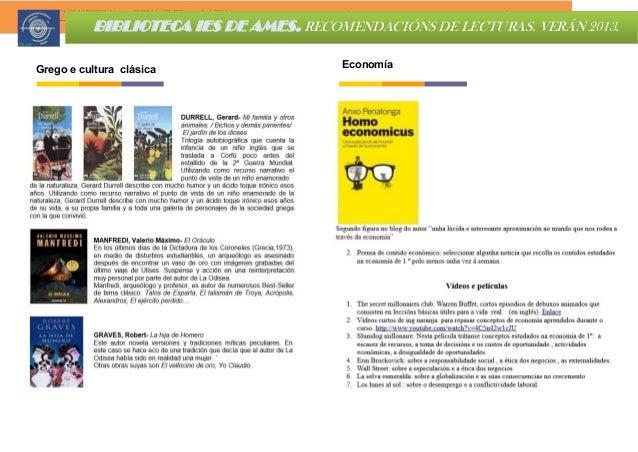 Grego e cultura clásica BIBLIOTECA IES DE AMES. RECOMENDACIÓNS DE LECTURAS. VERÁN 2013. Economía